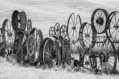 Photograph - Wagon Wheel Sculpture. by Usha Peddamatham
