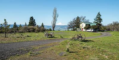 Photograph - Wagon Wheels And Mt Hood by Tom Cochran
