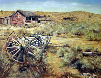 Painting - Wagon Wheels Bodie California by Evelyne Boynton Grierson