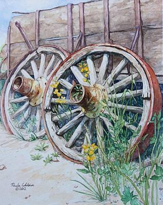 Old Wooden Wagon Painting - Wagon Wheels by Paula Walden