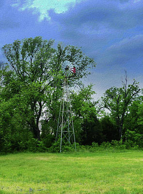 Photograph - Wagon Yard Elm Towers Over Aermotor Windmill by Robert J Sadler