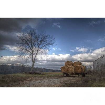 Rural Scenes Photograph - Wagonload  Wagon Load Of Hay Waits On by Larry Braun