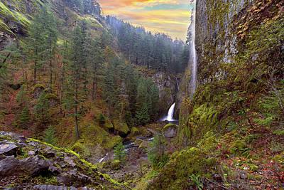Wahclella Falls In Columbia River Gorge Art Print by David Gn