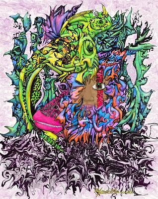 Mystical Landscape Painting - Wahine He'e Spirit by Maile Lu'uwai