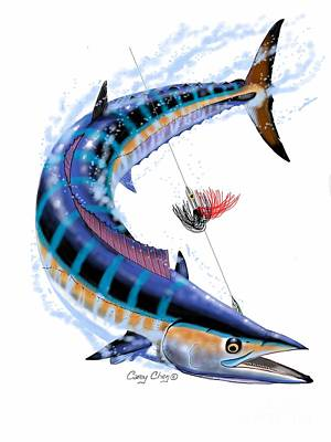Sport Fishing Digital Art - Wahoo Digital by Carey Chen