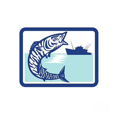 Wahoo Fish Jumping Fishing Boat Rectangle Retro Art Print