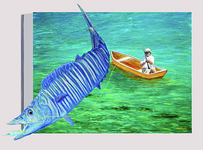 Dorado Painting - Wahoo Fishing 3d by Ken Figurski