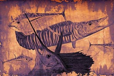 Mahi Mahi Painting - Wahoo Tuna Sailfish Copper by Ken Figurski