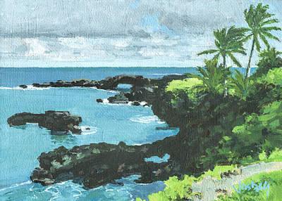 Haleiwa Painting - Wai'anapanapa Black Sand Beach by Stacy Vosberg