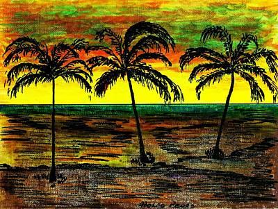 Ocean Sunset Drawing - Waikiki by Adolfo hector Penas alvarado