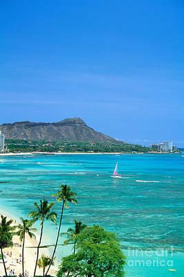 Waikiki And Sailboat Art Print