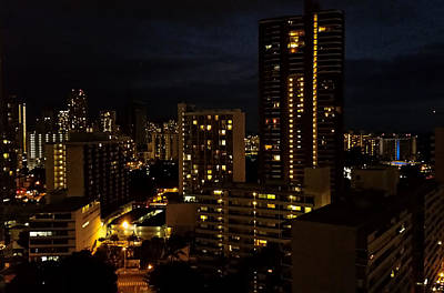 Photograph - Waikiki At Night by Pamela Walton