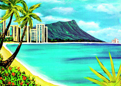 Waikiki Beach And Diamond Head #150 Art Print by Donald k Hall