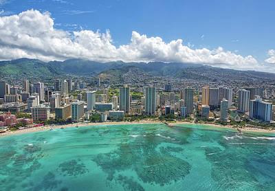 Wall Art - Photograph - Waikiki Beach Helicopter View by Martin Belan