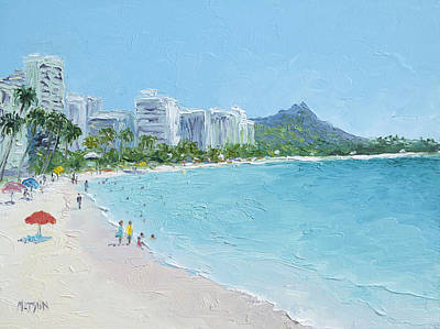 Waikiki Beach Honolulu Hawaii Art Print