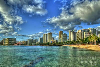 Photograph - Waikiki Beach Majestic Sunset Honolulu Hawaii Collection Art by Reid Callaway