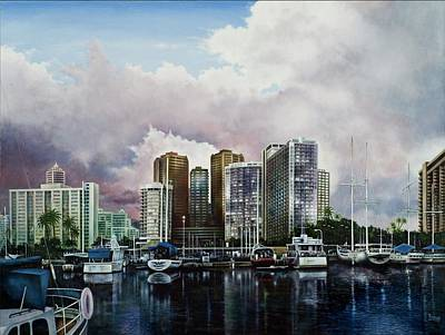 Art Print featuring the painting Waikiki Beach Marina by Michael Frank