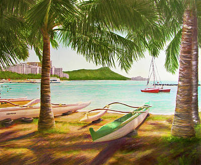 Waikiki Beach Outrigger Canoes 344 Art Print by Donald k Hall