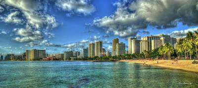 Photograph - Waikiki Beach Panorama Sunset Honolulu Hawaii Collection Art by Reid Callaway