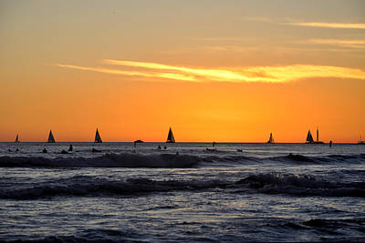 Photograph - Waikiki Sailboats by Andrew Dinh