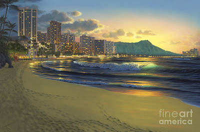 Full Moon Painting - Waikiki Sunrise by Al Hogue