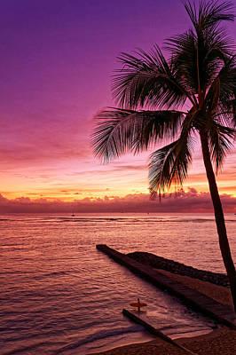 Photograph - Waikiki Sunset by Lars Lentz