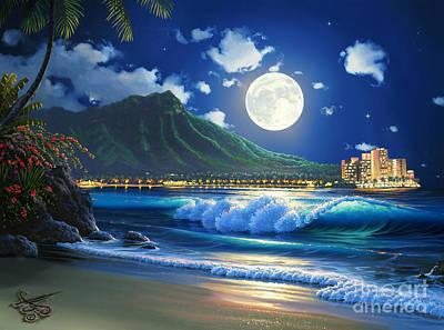 Moonlight Painting - Waikiki Surf Aglow by Al Hogue