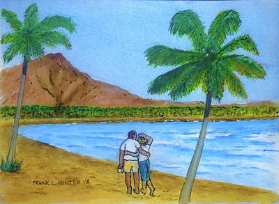 Painting - Waikiki To Diamond Head Honolulu by Frank Hunter