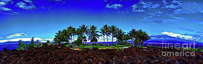 Photograph - Waikoloa Beach Golf Course Lava And Palm Trees 309010045 by Tom Jelen