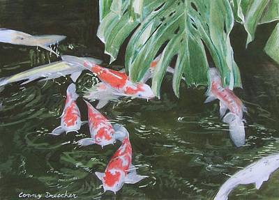 Art Print featuring the mixed media Waikoloa Koi Pond by Constance Drescher