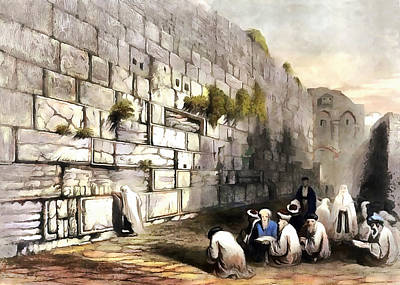 Photograph - Wailing Wall 1860 by Munir Alawi