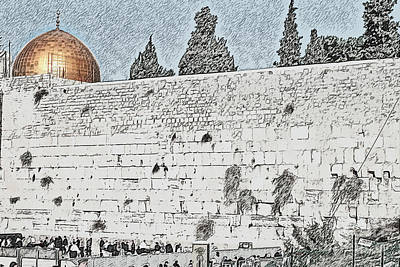 Manipulated Digital Photograph - wailing wall and dome of the Rock by Humorous Quotes