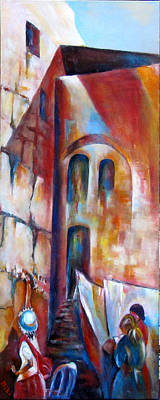 Painting - Wailing Wall Women  Section by Miki Sion