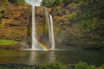 Double Rainbow Photograph - Wailua Falls Rainbow by Brian Harig