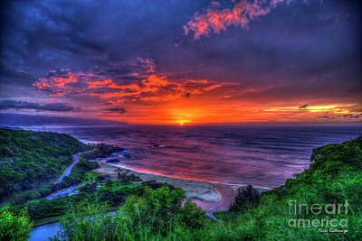 Photograph - Waimea Bay Sunset Overlook North Shore Oahu Hawaii Collection Art by Reid Callaway