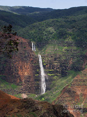 Pencil Drawing Waterfall Photograph - Waimea Canyon Waterfall by Phil Welsher