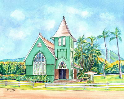 Painting - Wai'oli Hui'ia Church by Marionette Taboniar