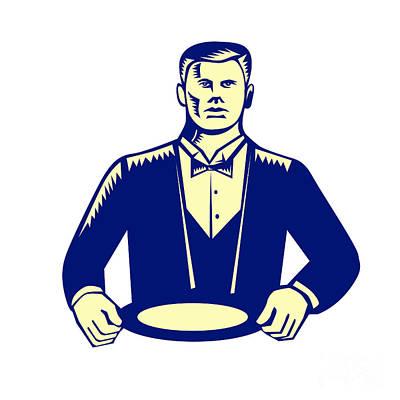 Waiter Digital Art - Waiter Cravat Serving Plate Woodcut by Aloysius Patrimonio