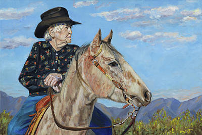 Western Riding Painting - Waitin' On The Drive - Georgie And Ches by Anne West