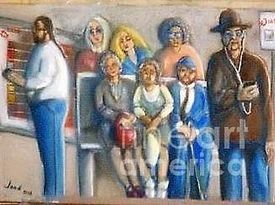 Painting - Waiting @ The Bus Stop by Jose Breaux