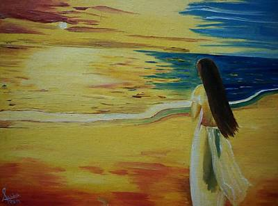 Beach Landscape Drawing - Waiting 2 by Ashish Nautiyal