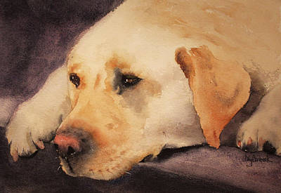 Golden Lab Painting - Waiting 6 by Ally Benbrook
