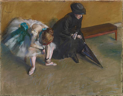 Retro Portret Painting - Waiting About 1882 by Edgar Degas