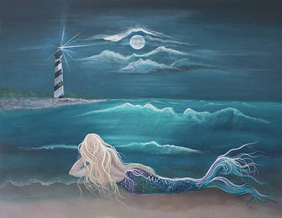 Angel Mermaids Ocean Painting - Waiting by Angel Fritz