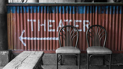 Photograph - Corrugated Metal Theater Sign by Jason Fink
