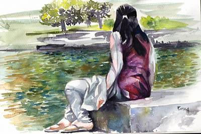 Drawing - Waiting By The Pool by Parag Pendharkar