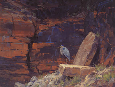 Blue Heron Painting - Waiting by Cody DeLong