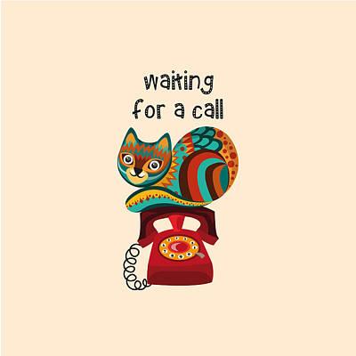 Fine Art Cat Digital Art - Waiting For A Call by Veronica Kusjen