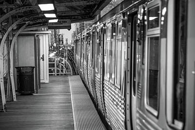 Chicago Photograph - Waiting For A Train In Chicago Black And White by Med Studio