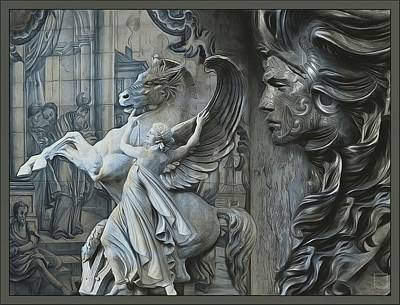 Waiting For Alexander - Heroes And Gods - Ancient Blue Grey  Original by Daniel Arrhakis